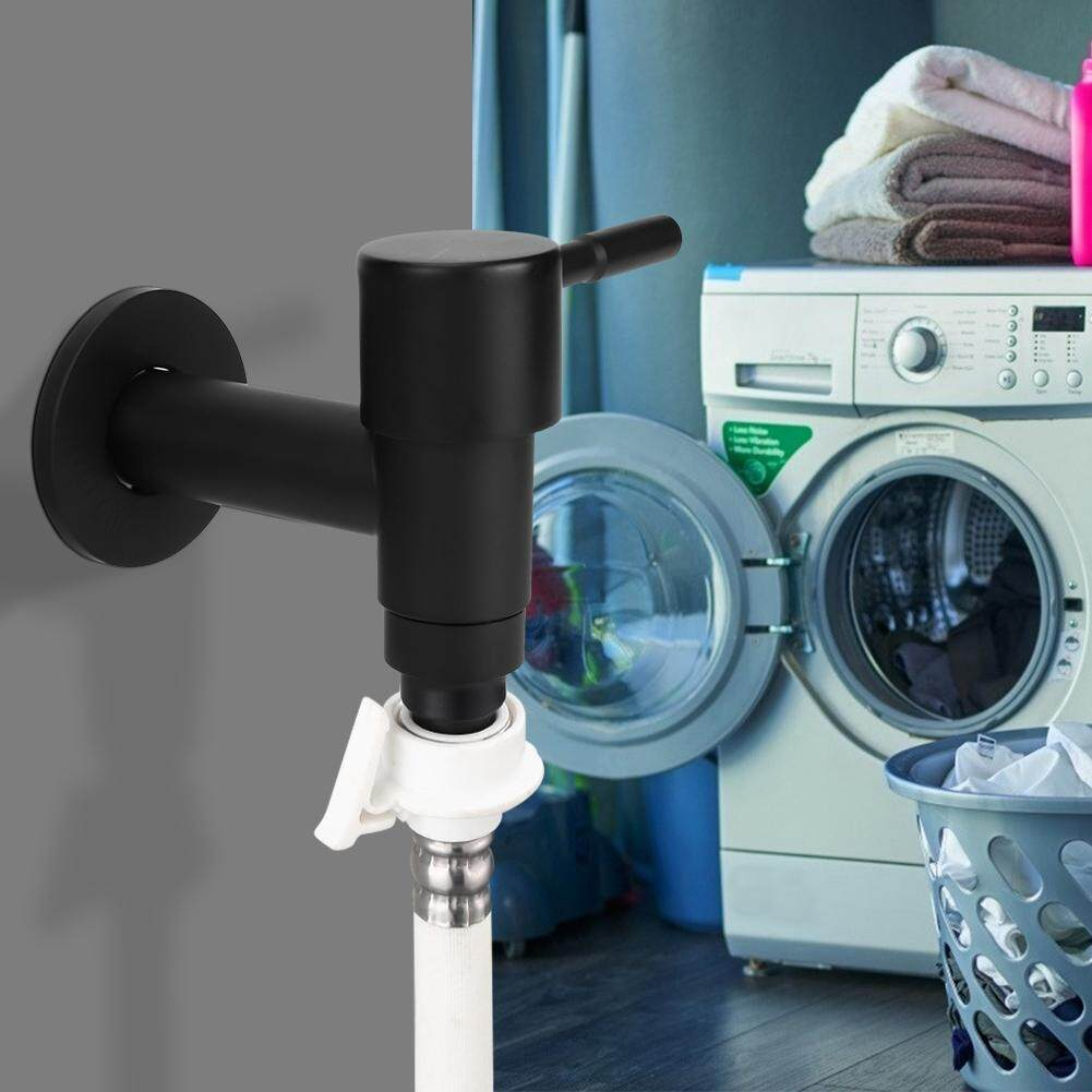 Household Stainless Steel Black Quick Single Cold Faucet Washing Machine Water Tap G1/2in Male Thread