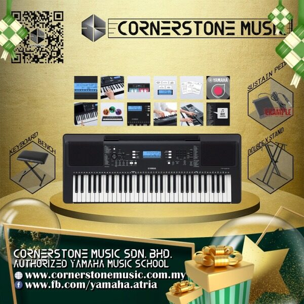 Yamaha Portable Keyboard PSR-E373 Gold Package ( PSRE373 / PSR E373 / PSR E 373 ) 61 keys 622 high quality Voices with improved sampling / Touch-sensitive keyboard / Brand new DSP effects and 11 Super Articulation Lite Voices - B / Black Malaysia