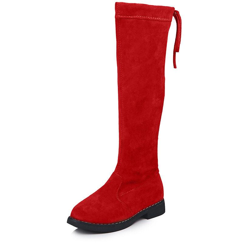 Giá bán Thời Trang Mùa Đông Giày Cao Su Cho Bé Gái Trên--Đầu Gối Trẻ Em Giày Trẻ Em Cao Đến Đầu Gối Bông Ấm Áp Mềm Mại sang Trọng Lưng-Buộc Sang Trọng Size 28-37