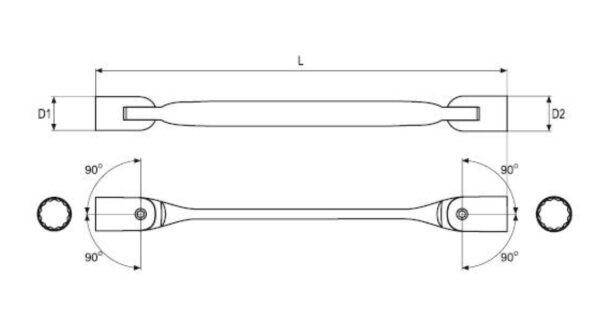 EMARK Heavy Duty Double End Flexible Socket Wrench Swivel End Socket Wrench (NEW & ORI FROM TAIWAN)