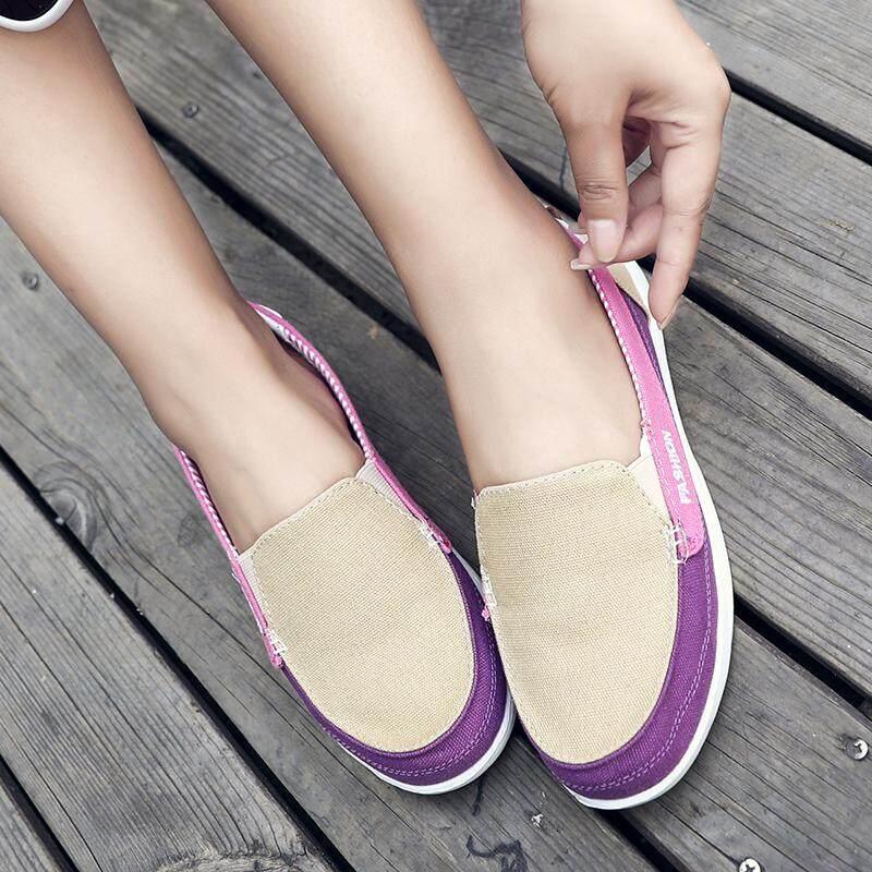 Mùa Hè Giày Vải Nữ Thoáng Khí Giày Một Chân Giày Lười Nam Nữ Mềm Mại-Đế Phụ Nữ Mang Thai Giày Nông Mẹ Giày Giày Thường Siêu Khuyến Mại