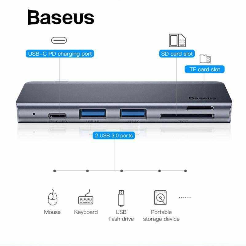 Airsky Baseus สีเทา 5 In 1 ฮับต่อพ่วง Usb ประเภท C ถึง Usb 3.0*2/sd/tf สำหรับ Macbook Pro อุปกรณ์เสริมคอมพิวเตอร์ C พลังงาน Supply By Airsky