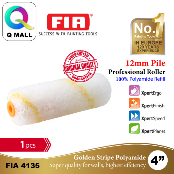 FIA 4 Professional Paint Roller Cover Refill Gold Stripe PA Roller 100% Polyamide (12mm Pile Length) FIA4135 - 1pc