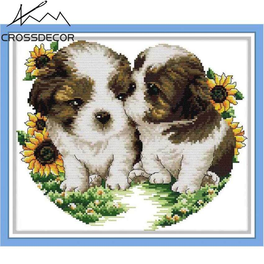 Simple Stamped Cross Stitch Set Dogs Kiss 11CT DIY Handmade Embroidery Needlework DMC Threads Complete Kits Pattern Pre-Printed On the Cloth Home Kids Room Decor
