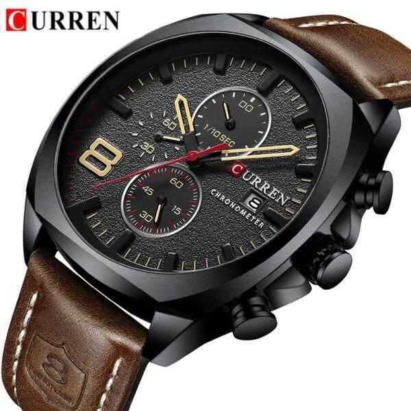 CURREN Brand Mens Sport Watches Fashion Analog Quartz Chronograph Waterproof Date Clock Watch Men Military Leather Men Watch Malaysia