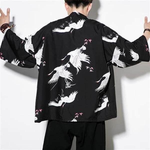 Đồ Cổ Trang Trung Quốc Nữ Phong Cách Trung Quốc Cải Tiến Hanfu Cổ Phong Cách Tang Phù Hợp Với Nam Giới Ngắn Tay Áo Kimono Cardigan Nhật Bản Ukiyo-e Road Robe Jacket Thủy Triều Án Phục Cách Tân