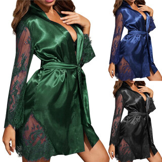 Váy Ngủ Ren Trong Suốt Cho Nữ, Áo Ngủ Cổ Chữ V Sâu, Đồ Lót Pyjama Satin Phong Cách Bikini Ngoại Cỡ thumbnail