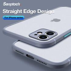 Ốp Điện Thoại Sanptoch Hình Vuông Mờ, Ốp Lưng Trong Suốt Khung Mềm Chống Sốc Màu Kẹo Cho iPhone 11 12 Pro Max XS Max X XR Dành Cho iPhone 7 8 Plus SE 2020 12 Mini toàn Bộ Camera