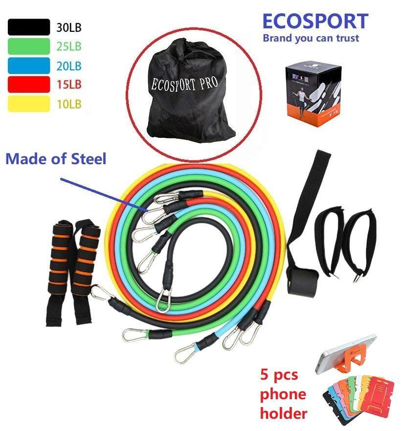 EcoSport 11Pcs Exercise Latex Resistance Bands Muscle Rope Tube Yoga  Fitness Abs Stretch Workout Gym + Free 5pcs Card Phone Holder