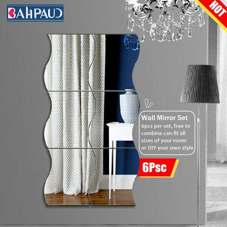 BAHPAUD 6 Pcs Diy Mirror Stickers 3d Wavy Combined Transport Bill Of Background Wall Mirror Decoration