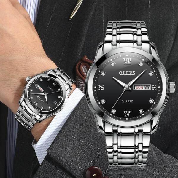 OLEVS New Business Men Watch Top Brand Luxury Stainless Steel Watchband Wristwatch Male Diamond Luminous Calendar Waterproof Quartz Watches 8691 Malaysia