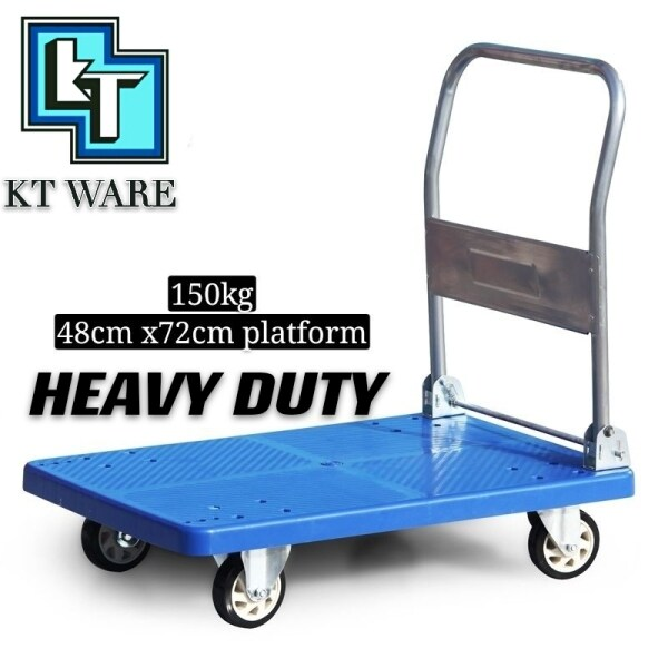 KT WARE 150KG PVC Platform Hand Truck / Trolley With Low Noise PU Caster Plastic Platfoam Handle Truck TROLI PLASTIC TROLI 4 RODA