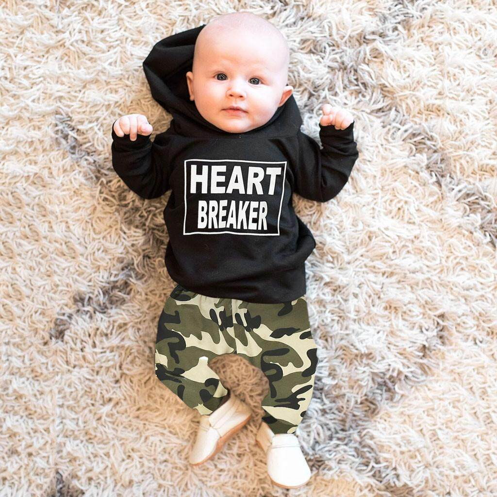 Newborn Infant Kid Baby Boy Letter Hoodie T Shirt Tops+Pants Outfits Clothes Set