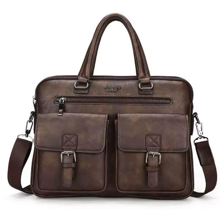 0e2e92933 Jeep Buluo Leather Bag Men's Briefcase Satchel Bags Men Business Fashion Tote  Bag 14' Laptop