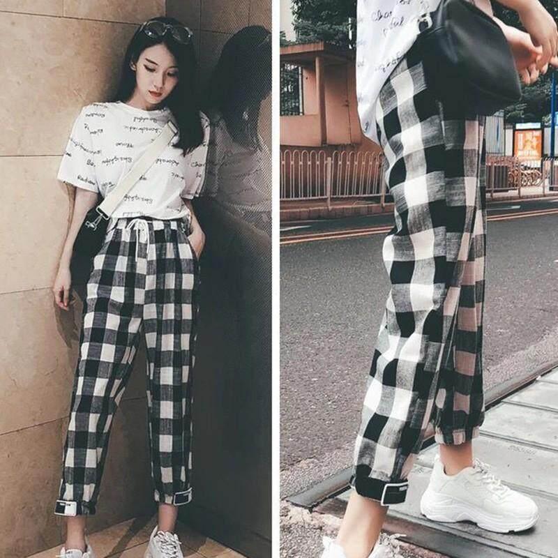 275b1aec581 Women Casual Pants Clothes Black White Plaid Harem Pants Loose Drawstring Pants  Clothing