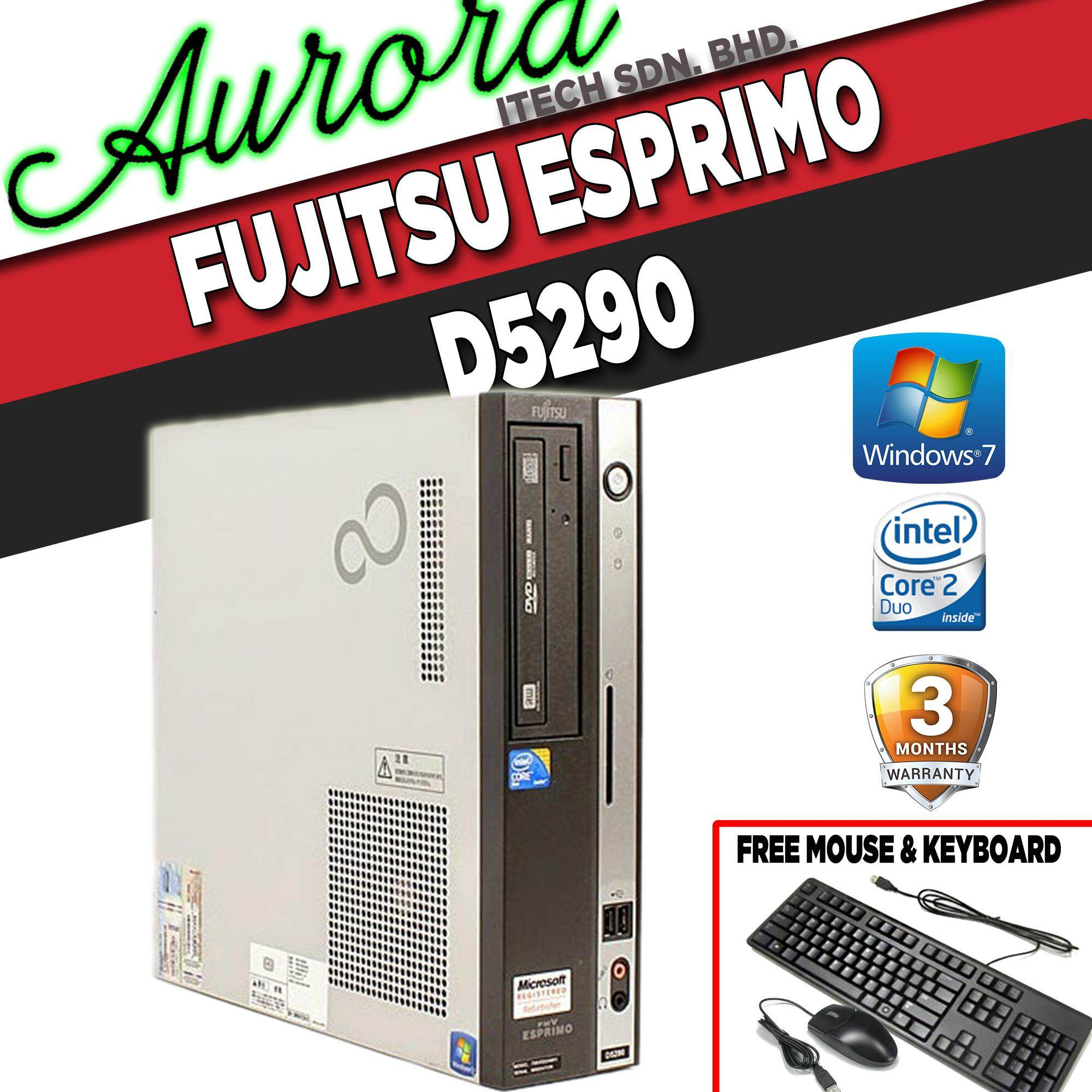 (refurbished) Fujitsu Esprimo D2590/ Intel Core 2 Duo E7400 2.80ghz / 2gb Ddr2 Ram / 80gb Hdd / 3 Month Warranty/ Free Mouse & Keyboard By Aurora Itech Sdn. Bhd..