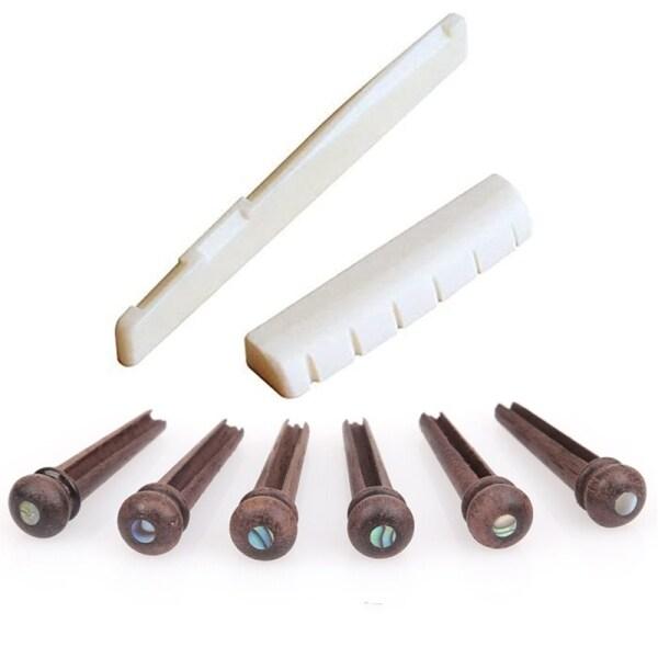 6 String Acoustic Guitar Bone Bridge Saddle and Nut and 6Pcs Rosewood Guitar Bridge Pins