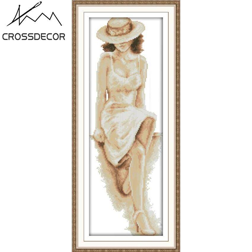 CrossDecor Stamped Cross Stitch Complete Set 11CT The Pretty Figure (4) DIY Handmade Embroider Needlework DMC Complete Kits Pattern Pre-Printed On the Cloth Home Room Decor