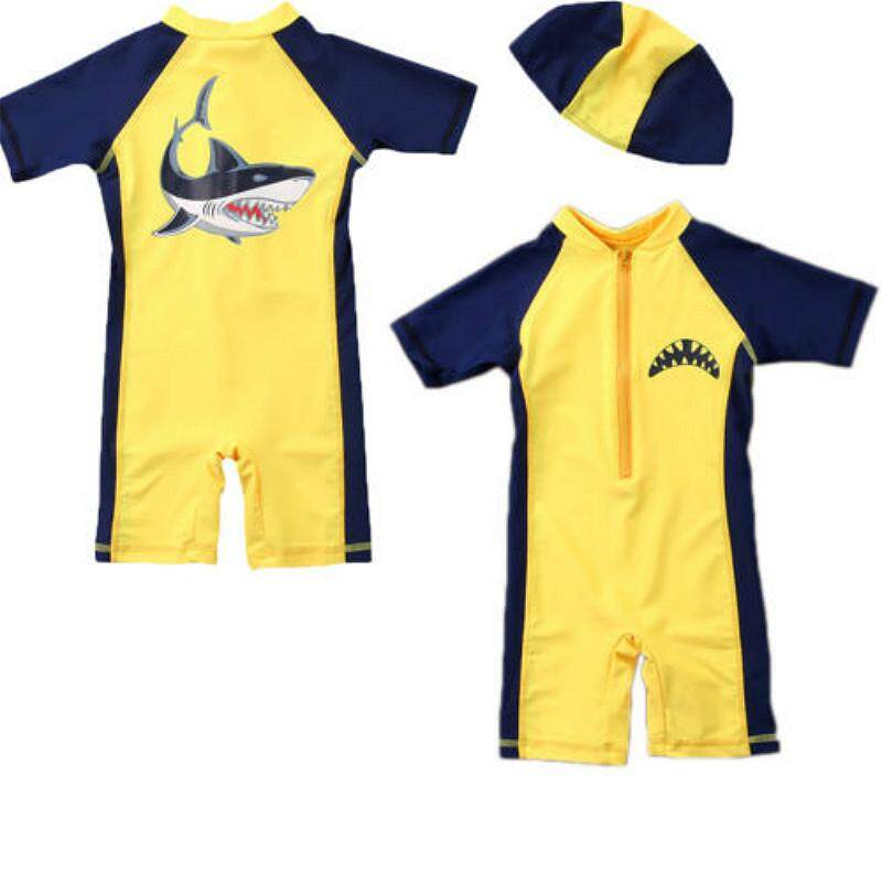 New Baby Kids Boys Summer Beach Swimwear Swimsuit Clothes Swimming Costume Baby Boy Short Sleeve Patchwork O-Neck Romper Yellow By Staire On.