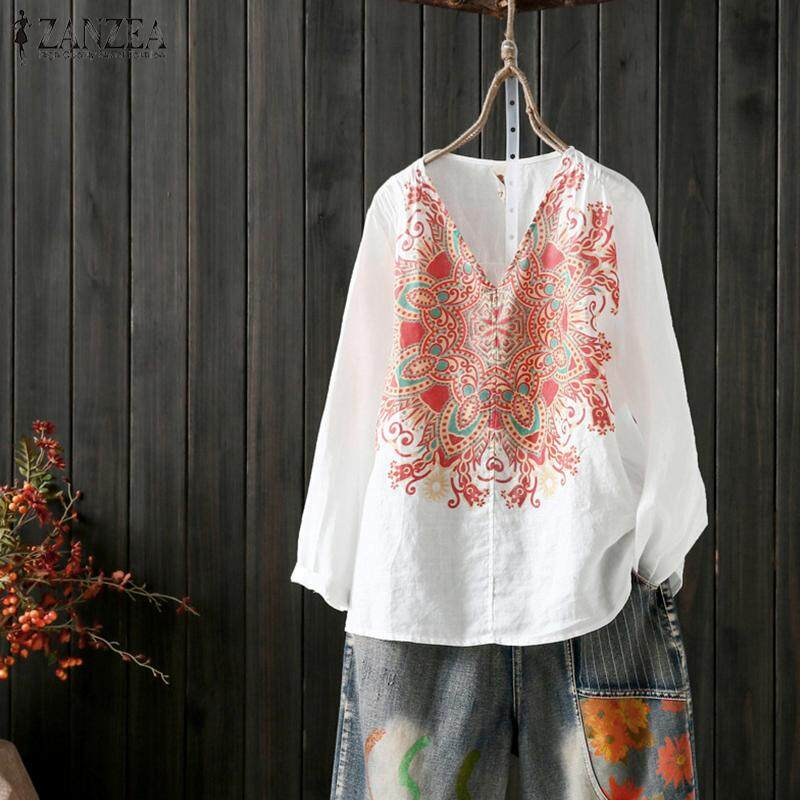 a72d6afb5d ZANZEA Womens Long Sleeve Floral Loose Tops T Shirt Casual V-Neck Blouse  Plus(not include the pants)
