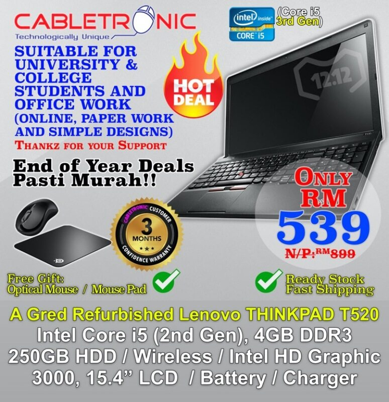 Refurbished Lenovo ThinkPad ThinkPad T520 Business Laptop ( Intel Core i5 2nd Gen , 4GB DDR3, 250GB HDD , 15.6 LED Wide Screen (A Gred Refurbished Laptop) Malaysia
