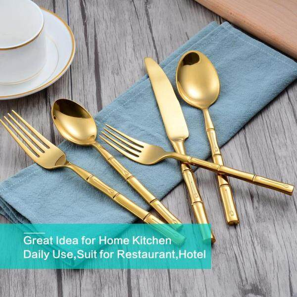 Gold Forge Bamboo Mirror 5 Piece Flatware Set,Stainless Steel Cutlery Dinnerware,Service for 1