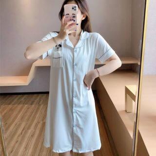 IHOME Cuộc Sống Áo Choàng Tắm Silk Nữ Đồ Ngủ Trên Bán Váy Mặc Mùa Hè Ngoại Cỡ Vải Cotton Mềm Mại Thường Ngày Thời Trang Áo Ngủ Rộng Tay Ngắn Đi Spa Ánh Sáng Tại Nhà Màu Trơn Hàn Quốc, 2021 Mới thumbnail