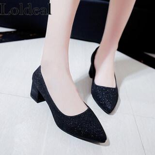 Loldeal Giày Cao Gót Mũi Nhọn Cho Nữ, Giày Đơn Giả Da Đính Kim Sa Thời Trang Mờ thumbnail