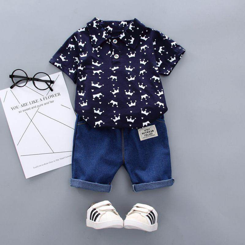 21eba0caa Summer Baby Boy Clothes Floral Print Short Sleeve Shirt Blouse Shorts  Casual Outfits Clothes