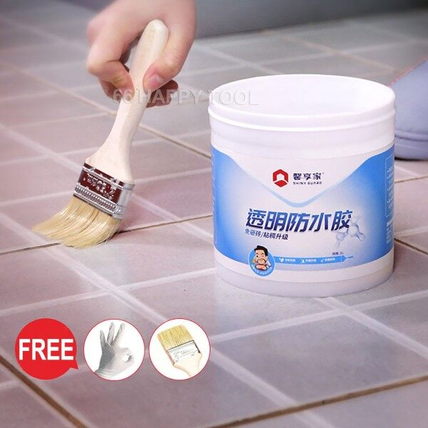 66 Happy Tool Ready Stock 500ml Transparent Waterproof Sealer Fix Bathroom Wall Leak Free Disposable Gloves and Brush