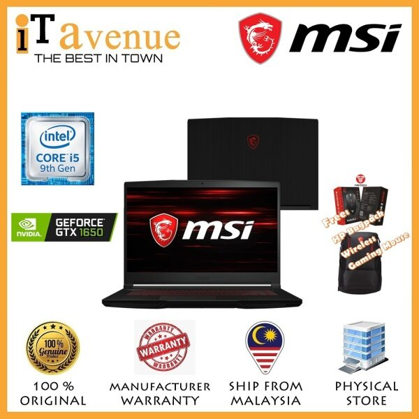 MSI GF63 9SC-891 Thin Bezel Gaming Laptop (i5-9300H, 4GD4, 256GB NVMe SSD,15.6FHD-IPS, GTX1650-4GB GDDR5, WIN10H, 2YR) Malaysia