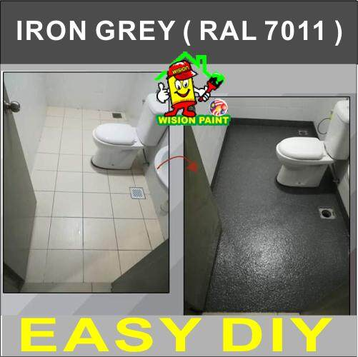 IRON GREY RAL 7011 ( FULL SET EPOXY PAINT ) TOILET TILES FINISH / CAT EPOXY LANTAI / 1L PRIMER TILES AND 0.5 KG POWDER ANTI SLIP AND 1L EPOXY FINISH PAINT / COVERAGE 50 SQF / HEAVY DUTY / CERAMICS AND TILES FINISH BATHROOM DESIGN PAINT • Package A
