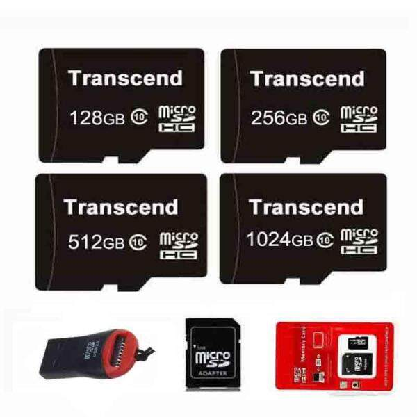 Authentic Transcend 128G 256G 512G 1024G Memory Micro SD Card XC Class 10 256GB 512GB 1TB 1024GB + Reader