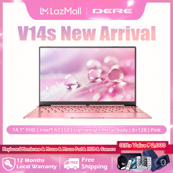 [Free Gifts] DERE Official V14s Laptop For Sale Brand New 14.1 inch FHD Screen | Intel N3350 N3450 J3455 CPU | DDR4 RAM+SSD ROM | Windows 10 Pro | 2.4G+5G WiFi Online Learning Computer PC (8+128/8+256, Silver/Pink)