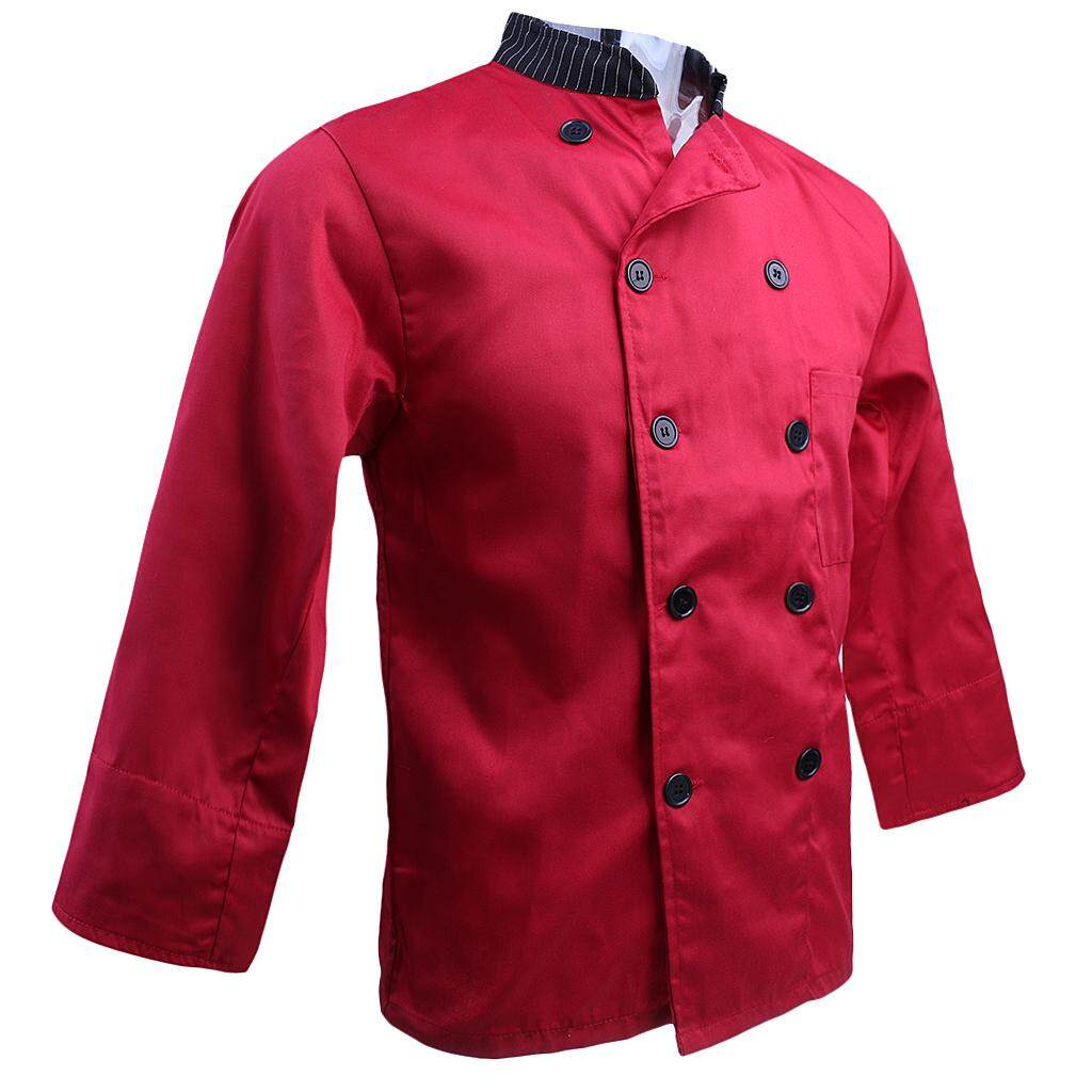 Fenteer Unisex Stand Collar Double Breasted Long Sleeve Chef Jacket Coat
