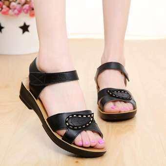 Gould ผู้หญิงสุภาพสตรีฤดูร้อนแฟชั่นรองเท้าแตะหนังรองเท้าส้นใส่สบายขนาดใหญ่