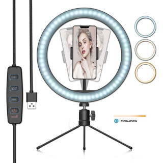 LED Ring Light Dimmable Desktop Fill in Light 3 Modes 10 Brightness Levels with Mini Tripod Phone Holder for Streaming Makeup Selfie Photography thumbnail