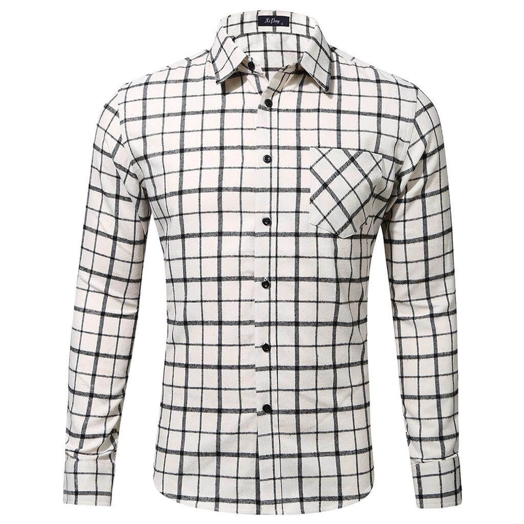 2b54863c Men's Casual Fashion Long Sleeved Shirt Single Pocket Plaid Printing Shirt  Tops
