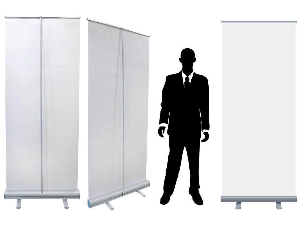 Retractable Roll Up Banner Stand (80 cm X 205 cm) Heavy Duty Aluminium Base