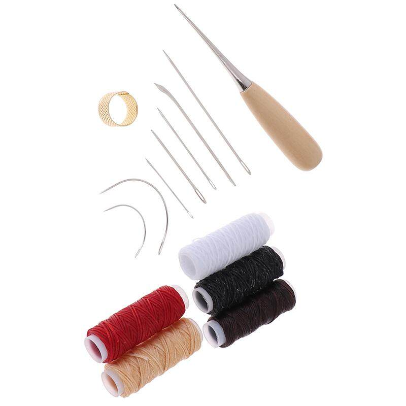 Jettingbuy 14Pcs Leather Craft Tool Waxed Thread Cord Sewing Needles Shoe Repair Kit Tool