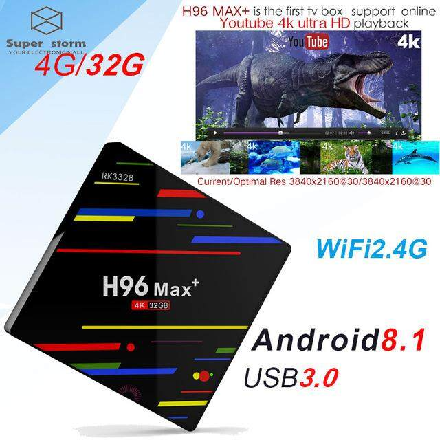H96 MAX Plus TV Box Android 8.1 4GB 32GB 64GB Smart Set Top Box RK3328 Quad