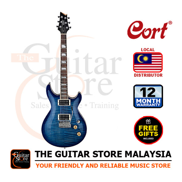 Cort M600T Flame Top Blue Dual Humbucker Electric Guitar With Gigbag Malaysia