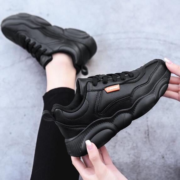 Hui Force Giày Nữ Giày Thể Thao Màu Đen Nữ 2020 Thu/Đông Màu Đen Thuần Giản Dị Đèn Làm Việc Đế Mềm Chạy Giày Đen Nhỏ... giá rẻ