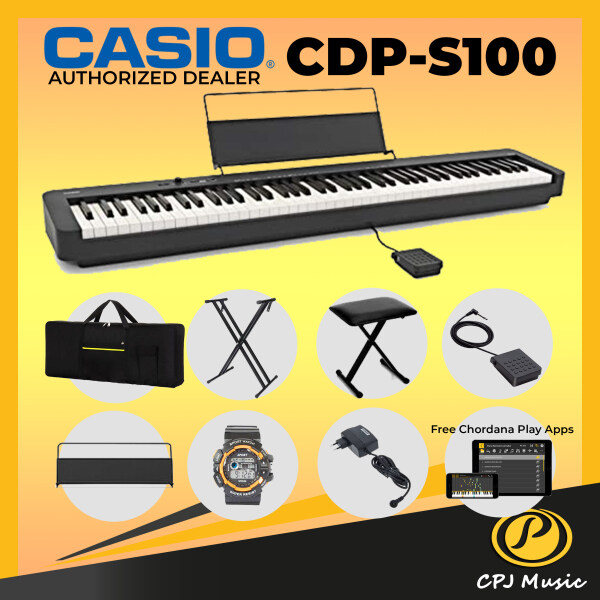 Casio CDP-S100 Digital Piano 88 Key Free Sport Watch, Bench, Bag, Sustain pedal & Keyboard X Stand With 18 Months Warranty Malaysia