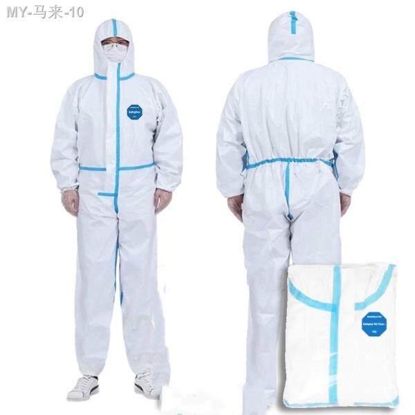 【Ship 24Hrs KLANG】FrontLiner PPE Suit Medical Covera Jumpsuit Isolation Suit 60gsm PE Coated 100- Waterproof VirusProof!