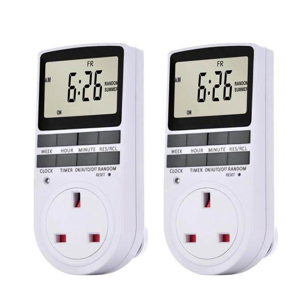 Pack of 2 Digital Plug-in Timer Socket LCD Display 10 Programmable Switching Programs 24 Hours & 7 Days Energy Saving Timer Socket for Electrical Appliances AC230V UK Plug