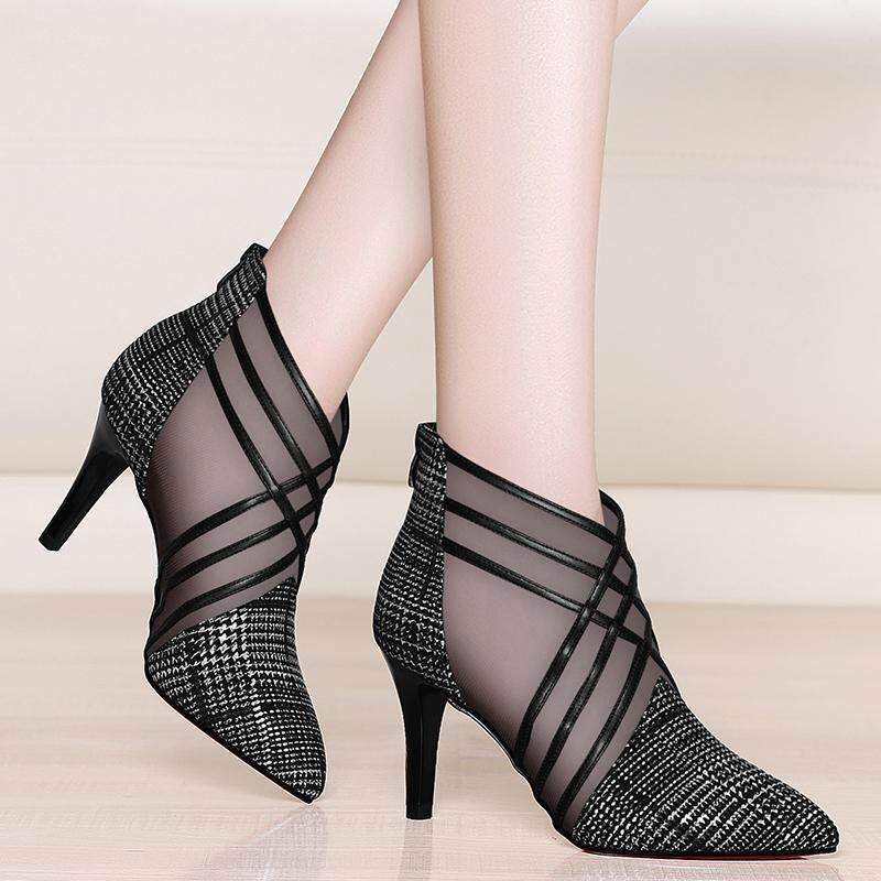 0902799164b 2019 new arrived woman mesh ankle boots for women summer 10cm thin heels  boots sandal ladies