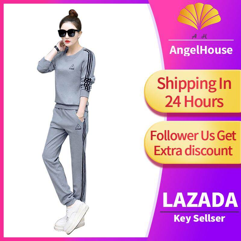 2cd7d262a70 AngelHouse[most popular]Fashion Women Loose Hooded Tracksuit Long Sleeve  Hoodie Pants Sport Sweat Suit (Red M)