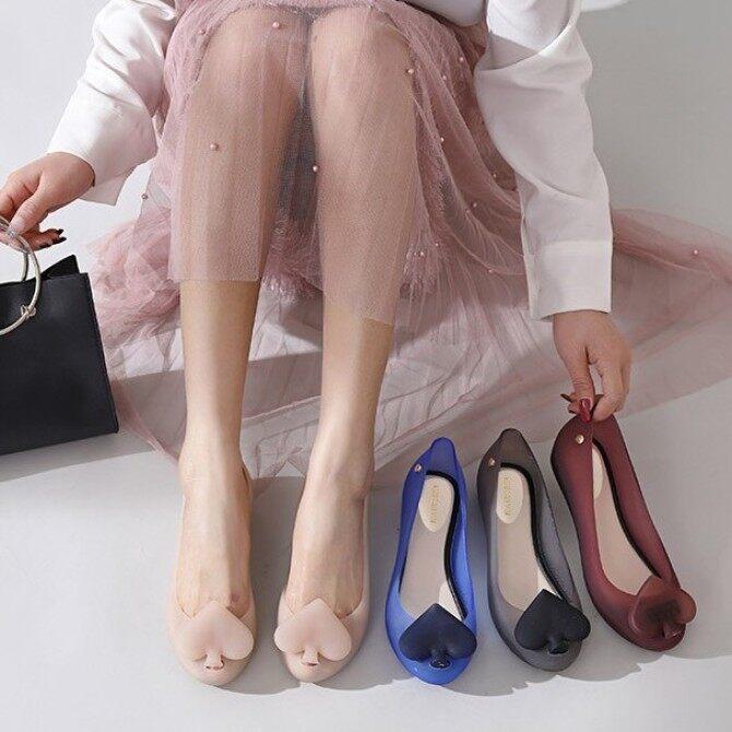 Xăng đan nữ đế bệt, giày nhựa trong suốt chống nước, miệng nông, cỡ lớn giá rẻ