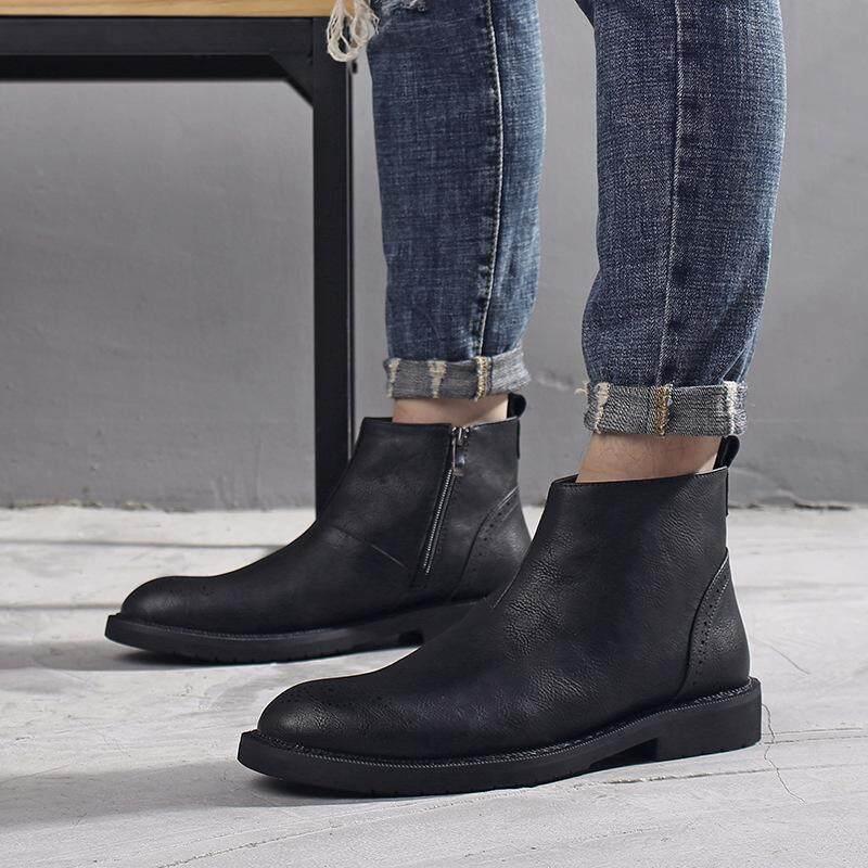 ผู้ชาย Booties ฤดูหนาวบวกกำมะหยี่รองเท้าบุรุษฉบับภาษาเกาหลีของรองเท้าบูท Martin แฟชั่นของผู้ชายของผู้ชายรองเท้ารองเท้า By Prosperous Supermarket.